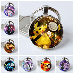$enCountryForm.capitalKeyWord NZ - Pikachu Pokeball Silver Plated Key Rings Holder, Umbreon Round Glass Dome Cabochon Animal Pendant Party Gifts