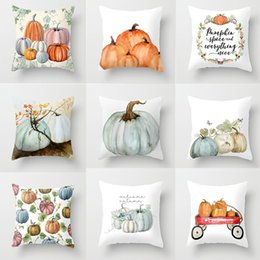 Wholesale Cute Pumpkin Watercolor Throw Pillow Cover for Autumn Harvest Thanksgiving Home Party Decorative Car Sofa Halloween Cover Pillow Case