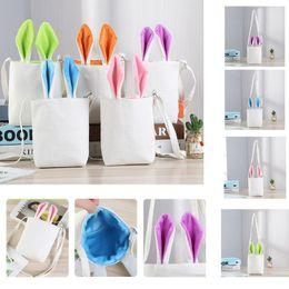 Easter Gift Bags Australia - 4 color creative Easter rabbit ear bag bunny cartoon bunny bucket gift bag shoulder canvas bag party decoration bags K100