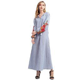 $enCountryForm.capitalKeyWord UK - Autumn Long Robe Women Long Dress Stripe Floral Embroidery V Neck Tassel Long Sleeve Vintage Maxi Gown Boho Loose Holiday Wear SH190712