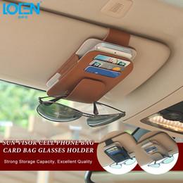 Car storage Cell phone online shopping - LOEN Auto Car Visor Organizer Genuine Leather Sun Visor Storage Pouch Bag Card Cell Phone Pen Sunglasses Holder For Toyota
