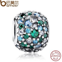 Jewelry Mosaic Sets Australia - GIFT Charms Fit Original Bracelet Sterling 925 Silver Ocean Mosaic Pave, Mixed Green CZ & Green Crystal Beads PAS134
