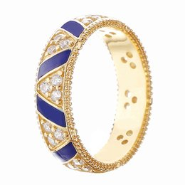 Blue wedding rings women online shopping - Authentic Sterling Silver Ring Golden Shine Stones And Stripes Ring Blue Enamel For Women Wedding Gift Fine Europe Jewelry