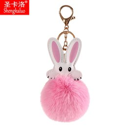 photo ears NZ - 2020 New Popular Creative Pendant Plush Keychain Rabbit Ear Faux Fur Wallet Key Chain Car Accessories Plush Ball Pendant Ladies Keychain