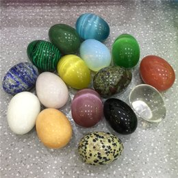 stone eggs NZ - 1PC Natural Stone Crystal Egg Different Kinds Gemstone Massage Yoni Egg Reiki Healing Chakra Stone Home Decoration Free Shippin