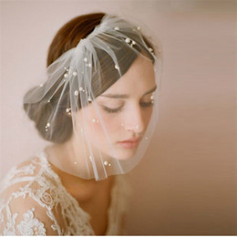 cheap veils for sale NZ - Hot Sale Handmade Tulle Birdcage Veils for Brides White&Ivory Beaded Short Bridal Wedding Veil with Comb Cheap Bridal Accessories Veil