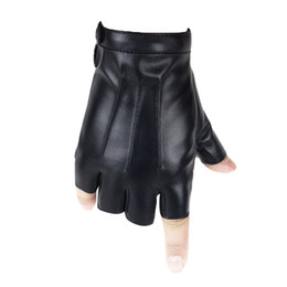 Leather Mitten Gloves Australia - 400PAIRS   LOT Men Women Leather Half Finger Gloves Solid Color PU Dance Stage Show Driving Gloves Mitten