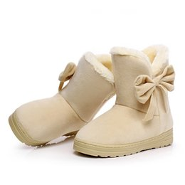 $enCountryForm.capitalKeyWord Australia - Warm Snow Boots Women Winter Fashion Platform Bow Mid Calf Boots Warm Fur Plush Cotton Shoes Ladies Botas Mujer Chaussures Femme