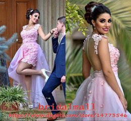 5fb1e04c4fb3 Red beaded cocktail dRess tulle skiRt online shopping - 3D Flowers Pink  Arabic Short Prom Dresses