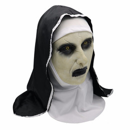 China The Nun Horror Mask Cosplay Valak Scary Latex Masks With Headscarf Full Face Helmet Halloween Party Props 2019 Drop Shipping suppliers