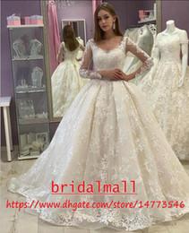 ElEgant sExy rEd drEssEs online shopping - Robes de mariée Elegant V Neck Appliqued Lace Wedding Dresses With Sheer Long Sleeve Bobo Garden Bridal Gowns Plus Size Wedding Dress