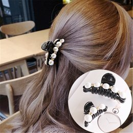 plastic hair clamp claw 2019 - MISM Trendy Crystal Hair Claw For Woman Headwear Girls Rhinestone Hairpins Crab Jaw Clamp Plastic Pearl Hair Clips Acces