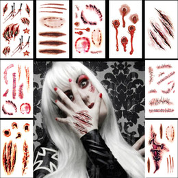 waist knife Australia - Halloween Decoration Waterproof Temporary Tattoos Lady Women 3d Reality Knife Wound Vampire Blood Scar Design Tattoo Sticker Free Shipping