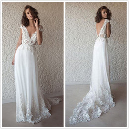 backless hippie wedding dress Australia - Bohemian Hippie Style Wedding Dresses 2019 Beach A-line Wedding Dress Bridal Gowns Backless White Lace Boho wedding Gowns