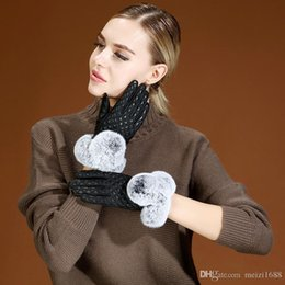 leather wrist gloves UK - High quality new women autumn winter warm gloves rabbit fur decorationThickening soft 100% genuine leather gloves women