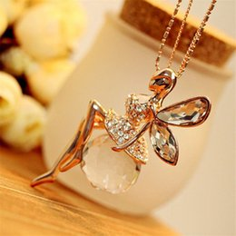 $enCountryForm.capitalKeyWord Australia - New LNRRABC Women Crystal Shiny Fairy Rhinestones Angel Wings Long Chain Party Pendant Necklace Sweater Chain Fashion Jewelry