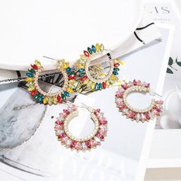 Discount big crystal hoops - Big Statement Crystal Earrings Jewelry Geometric Round Luxury Rhinestone Drop Earrings For Women