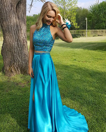 $enCountryForm.capitalKeyWord Australia - 2019 Light Blue Two Pieces Pageant Evening Dresses Women's High Neck Side Split Bridal Gown Special Occasion Prom Bridesmaid Party Dress