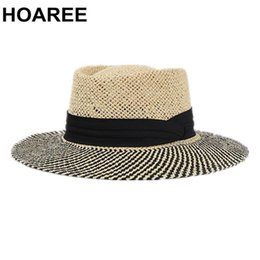 men fedora black straw NZ - HOAREE Panama Hat Men PorkPie Sun Hat Summer Straw Wide Brim Fedora Male Hand Knitting Black Patchwork Casual Beach Tribby