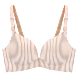 $enCountryForm.capitalKeyWord NZ - Wire Free Deep V Sexy Push Up Bra One-piece Seamless Stripe Lingerie Soft Comfortable Cup Wide Straps Soutien Gorge
