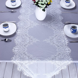 table tablecloths Australia - White Lace Floral Table Runner Boho Wedding Tablecloth Banquet Party Home Decor