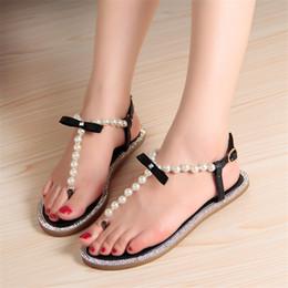 d3e39e1ae92695 Women sandals 2019 summer new beaded stone pearl female sandals Rome flat  sandwich toe women s flat wedding shoes