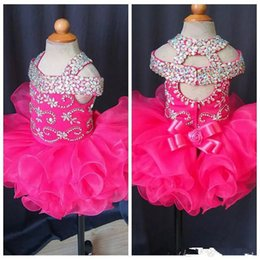 BaBy 3t online shopping - Cute Infant Mini Short Skirts Toddler Girls Ruffles Flower Girls Dress Baby Girls Glitz Crystal Beaded Pageant Cupcake Gowns Real Photo