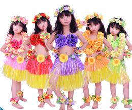 $enCountryForm.capitalKeyWord Australia - Wholesale 30sets lot Hawaii Hula Skirt Set Hawaiian Costume Skirt Children Hula Dance Sets Hawaiian Grass Skirts Party Supplies 5 Colours