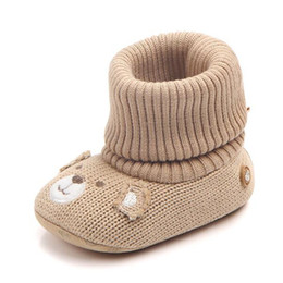 crochet baby girl snow boots NZ - Hot Baby Girl Shoes Boots Winter Warm Newborn Toddler Shoes for Babies 3 Colors Infant Prewalkers Soft Sole knitting Boots