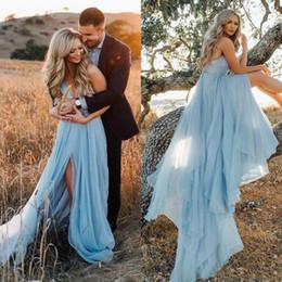 $enCountryForm.capitalKeyWord Australia - Engagement Wedding Party Dresses for Women Spaghetti Strap Backless High Slit A Line Bridal Gowns Country Boho Wedding Dress