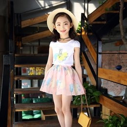 delivery flowers 2019 - Girls, summer, children's suits, fashion flowers, T-shirts and short skirts, two pieces, free delivery. discount de