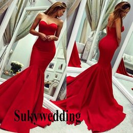 glamorous red mermaid prom dresses UK - Glamorous Red Mermaid Prom Dresses Sweetheart Sleeveless Formal Evening Gowns Ruffles Backless Party Formal Gowns On Sale Cheap Vestidos