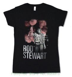 """Designs Girls Shirts New Australia - Women's Tee Rod Stewart """" Balloons """" Girls Juniors Black T Shirt New Official Design Short Sleeve T Shirt"""