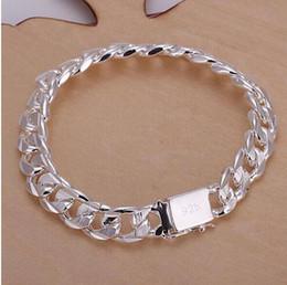 $enCountryForm.capitalKeyWord Australia - New high -quality WOMEN MEN noble 925 solid silver PLATED bracelets fashion jewelry gifts Mens 10MM square nice jewelry Bracelet GB648