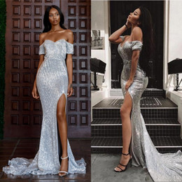 Champagne mermaid style prom dresses online shopping - New Arabic Style Silver Mermaid Prom Evening Dresses Sexy Split Off Shoulder Elegant Long Prom Gowns Lace Sequined Pageant Wear