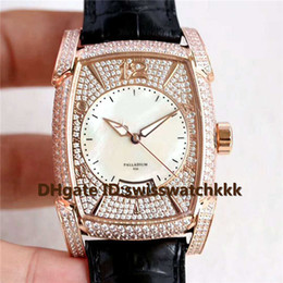 diamond display case NZ - 2019 New Mens Wristwatch Swiss Cal.PF331 Automatic Sapphire Crystal Date Display Rose Gold Full Diamond Case Italy calfskin strap Mens Watch