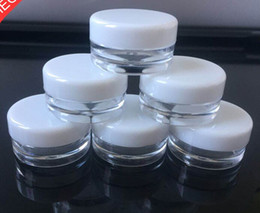 China White Top 3G Travel transparent round cream pot 3ML jars pot container clear plastic sample container for nail art storage cheap plastic screw top container suppliers