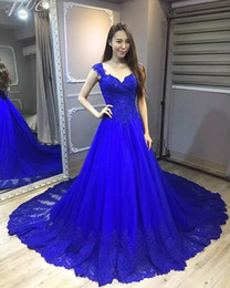 long strapless linen dresses NZ - Royal Blue Prom Dresses Long robes de soiree A Line Cap Sleeve Lace Tulle Formal Evening Gowns vestidos de fiesta Party Dress
