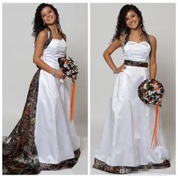 White Plus Size Bandage Dresses Australia - 2018 Beautiful Halter Camo A-Line Wedding Dresses With Detachable Train Real Tree Camouflage Bridal Gowns Bandage Back Custom Plus Size