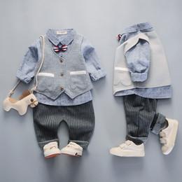 $enCountryForm.capitalKeyWord Australia - New Spring Autumn Baby Boys Gentleman Clothes Set Kids Tie Shirt + Waistcoat + Pants Boy 3pcs Set Children Outfits 4852