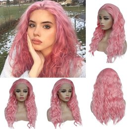 hot pink lace wigs NZ - Hot New Style Pink Synthetic Lace Front Wig Long Natural Wavy Wigs Middle Paerting Woman's Fashion Wig perruque Female Hair Free Shipping
