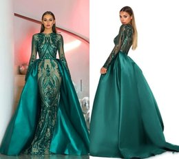 Luxury Dubai Long Sleeves Green Sequins Prom Dresses 2019 Mermaid Detachable Train Evening Party Gowns Custom Made Plus Size