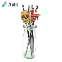 Chinese  ZFWELL 4pz lot Mexican Day of the Dead Fiesta Head Horse Cactus Guitar Pinata Paper Straw Dessert Table Party Decoration.8.5 manufacturers