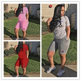 Wholesale Women Fashionable Tops Australia - S-3XL Women Champion Letter Shorts Set Tracksuit Summer T shirt Tops + Shorts 2 Piece Fashionable Outfit Jogging Set Casual Sportswear A361