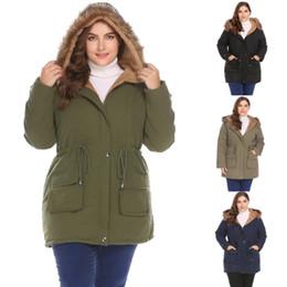 $enCountryForm.capitalKeyWord Australia - Women Warm Faux Fur Hooded Drawstring Fleece Lined Quilted Military Parka Coat Plus
