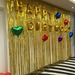 Purple Gold Birthday Party Decorations Australia - Rain Curtain Party Foil fringe Background Tinsel wedding Decoration rain Curtain Rose gold Sequin backdrops Birthday baby shower Supplies