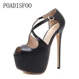 01c4d8bfbd7e Designer Dress Shoes POADISFOO 16CM 2019 Women Toe Super High Heels Pumps  Heels Sexy Hollow Waterproof Sandals zg9913-11-CWF
