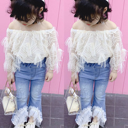 girls jeans top baby Canada - Toddler Kids Clothes Set Baby Girl Lace Off Shoulder T Shirt Tops Destroyed Ripped Jeans Flare Pants Children Outfits 2Pcs Hot