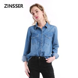 $enCountryForm.capitalKeyWord Australia - Women Denim Basic Shirt Loose Casual Long Sleeve With 2 Pockets 100% Cotton Washed Blue Female Lady Blouse Top Y190817