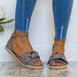 $enCountryForm.capitalKeyWord Australia - Ankle Strap Back Strap Rome Flat Sandal Casual Solid Beach Shoe Butterfly-knot Summer Sandales Femme 2019